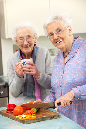 Seniors enjoying locally grown produce