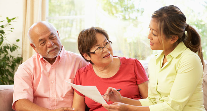Senior couple getting financial advice