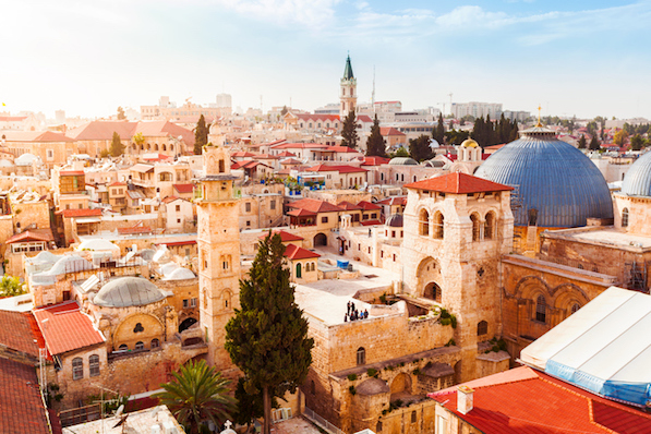 Old City Jerusalem from above. Church of the Holy Sepulchre.