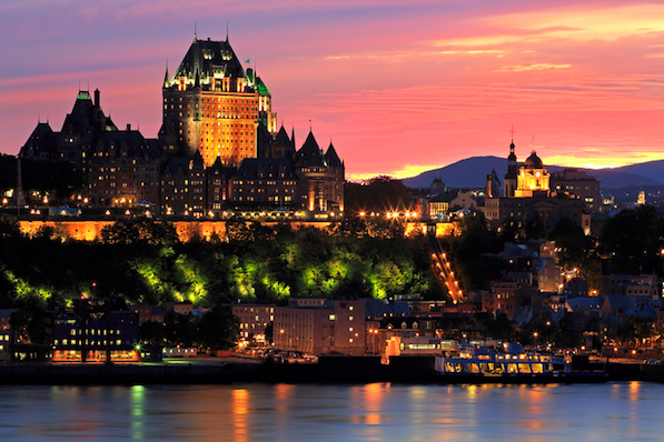 Quebec City skyline at dusk and Saint Lawrence River