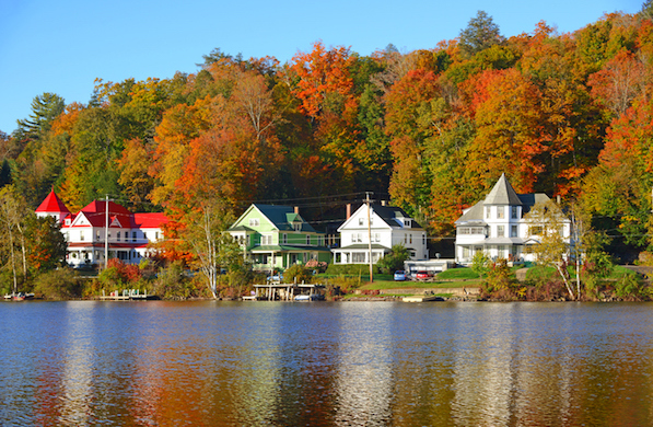 Autumn Foliage reflecting in Lake, Adirondacks, New York