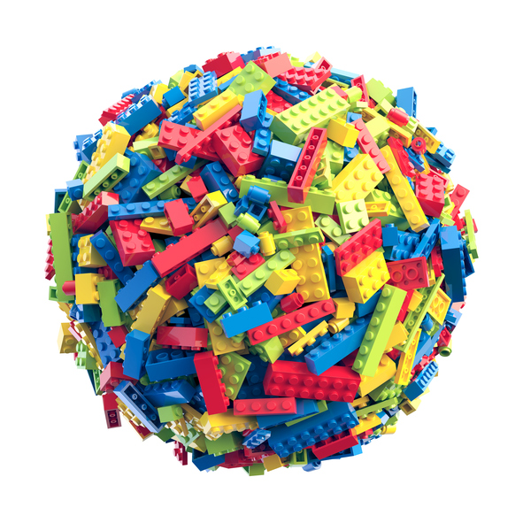 Sphere made of random colored toy blocks. 3D Rendering