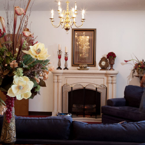 Cumberland Village Assisted Living - Fayetteville, NC - Fireplace Lounge