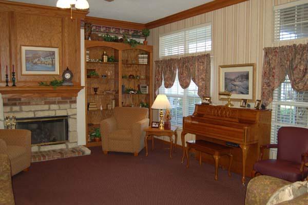 Elmcroft of Muncie, IN - Fireplace Lounge
