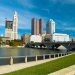 The skyline of Columbus, Ohio across the Scioto River