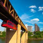 The Mud Island River Park monorail heading into Memphis, Tennessee