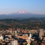 Downtown Portland, Oregon with Mt. Hood in the background