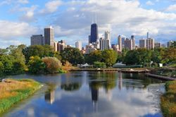A view of the Chicago skyline from Lincoln Park, IL (Illinois)