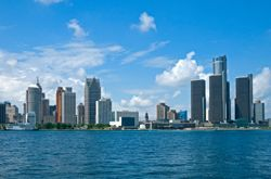 The skyline of Detroit, MI (Michigan) is seen across the Detriot River
