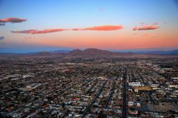 An arial view of Las Vegas, NV (Nevada) at sunset