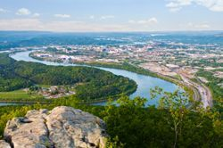 Chattanooga, TN (Tennessee) seen from a nearby mountain