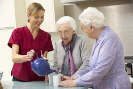 Enon Country Manor - Walnut Hill, FL - Seniors and Caregiver Pouring Tea