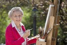 Pacifica Senior Living Newport Mesa - Costa Mesa, CA - Woman Painting
