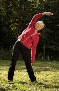 Senior woman exercising at an independent living community