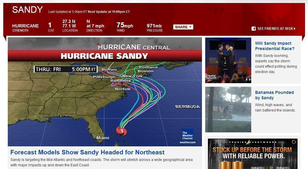 Hurricane Sandy prepares to hit the East Coast