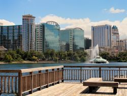 Lake Eola and Orlando, Florida Skyline