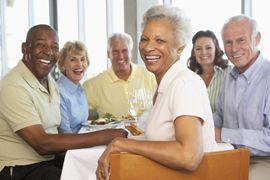 Happy residents of an assisted living community