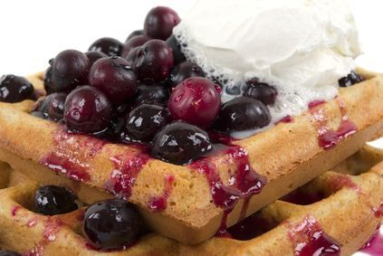 Christmas breakfast traditions: waffles with blueberry syrup