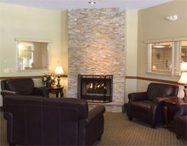 Kingston Manor, PA - Lounge with Fireplace